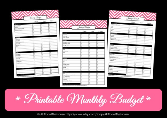- Chevron Monthly Budget - Finance Printable - PDF Household Binder ...