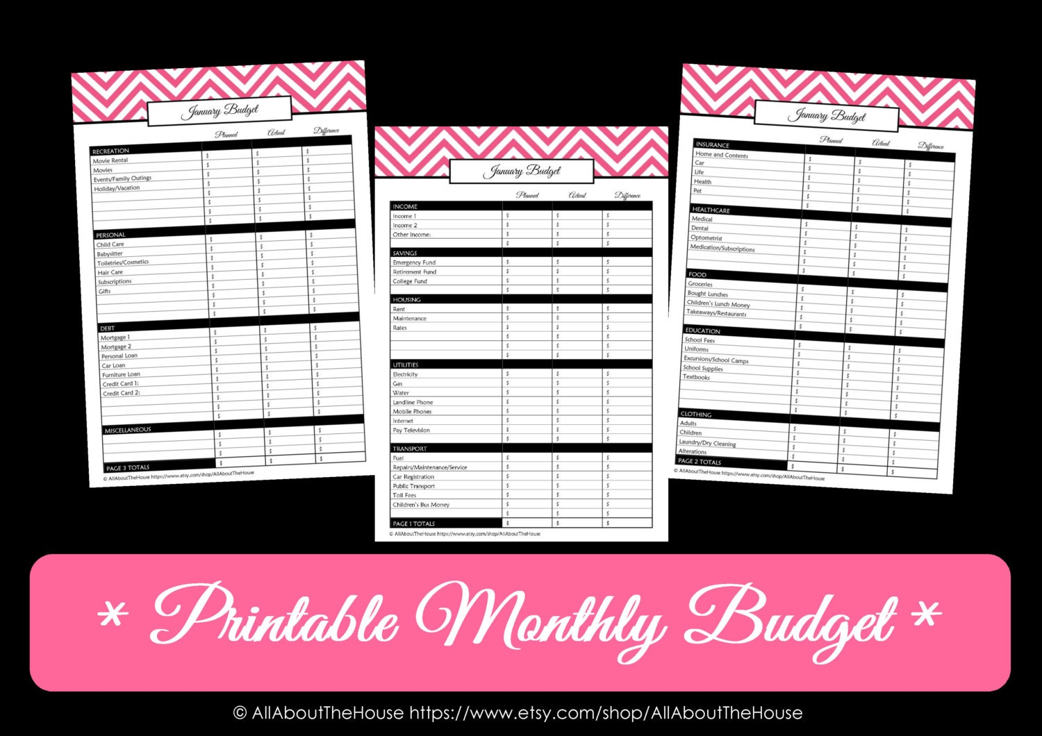 Printable Monthly Budget Template Printable monthly budget