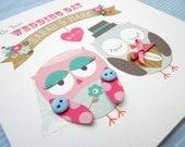 Personalised Handmade Wedding Card-Owls by Katie Elliott Designs