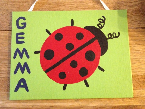Items similar to kids room art ladybug painting canvas for Kids room canvas