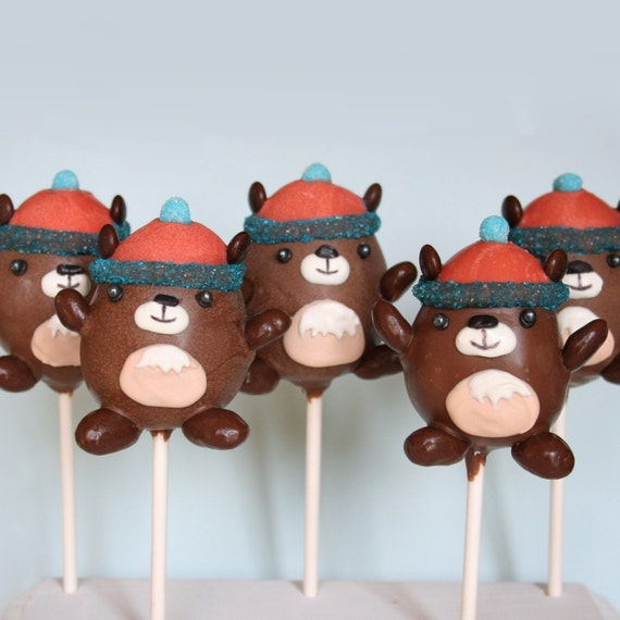 12 Groundhog Cake Pops, party favors for Groundhog Day, Feb 2nd, inspired by MukMuk the Marmont, the Vancouver Winter Olympics mascot