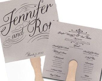 Fan Wedding Program Traditional Wedding Program Fan Pretty Wedding Program Fan