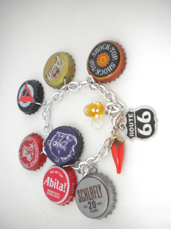 Beer bottle cap bracelets soda pop cap jewelry by for Beer cap jewelry