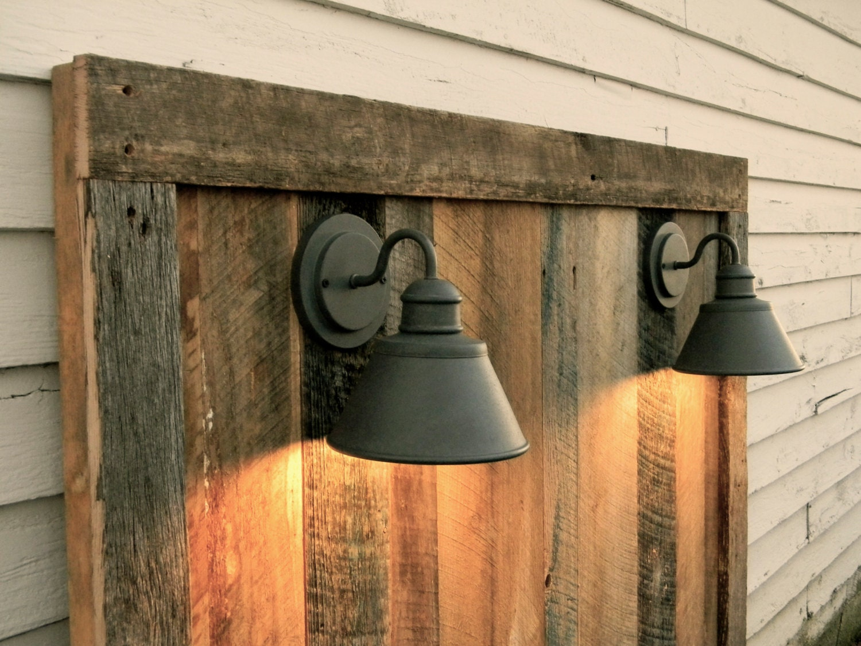 Barnwood headboard w lighting gage collection by rebarnchf for Rustic headboard with lights