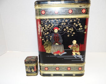 Old 1960 Asian Enamelled Tin Containers One Big and One tiny