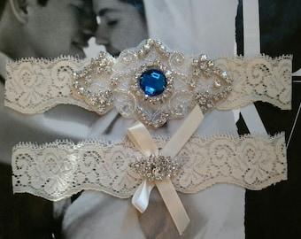 Wedding Garter, Bridal Garter, Garter  Set - Something Blue on a Ivory Lace with Rhinestone - Style G2033