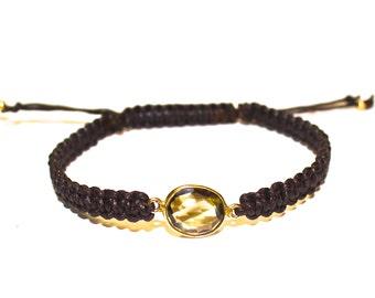Light Brown Stone Bezel Gold Bracelet