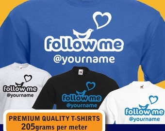 PERSONALISED follow me at Twitter custom name womens mens T-shirt birthday present gift idea