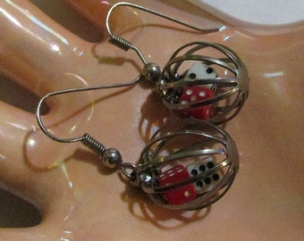 DICE in a cage PIERCED EARRINGS Vintage kitschy retro