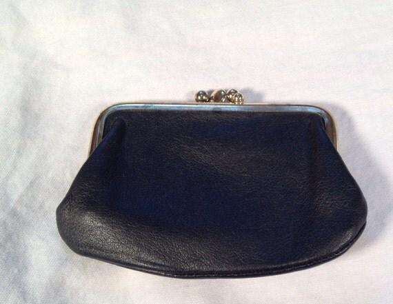 Vintage St Thomas Black Leather Change/Coin Purse c.1950-60