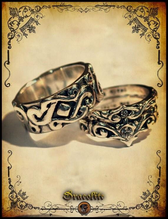 Medieval Wedding ring trio Sterling silver 925