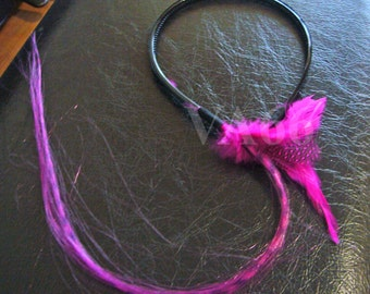 Hot Pink Feather Hairband Black Long 40cm Hair Accessory Gift Birthday girl toddler Teenager