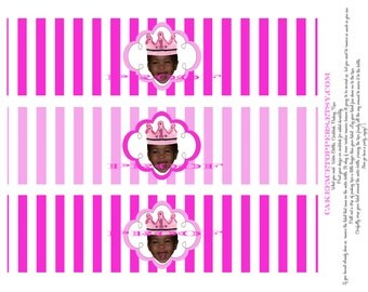 DIY Princess birthday Water bottle labels printable file