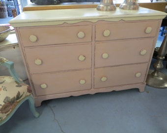 Vintage Shabby Chic Wooden Dresser Or Baby Changing  Table With Polka Dot Looking Knobs