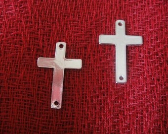 2pc 925 sterling silver sideways cross charm, pendant, connector