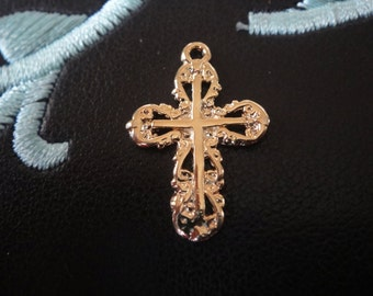 18k gold plated sterling silver cross charm, vermeil cross pendant, shiny gold