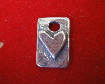 925 sterling silver oxidized heart charm, silver charm with heart, silver heart pendant, pendant with heart, silver heart. 1 pc.
