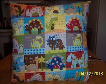 Hand-made Dinosaurs throw pillow