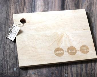 Custom Engraved Wood Cutting Board - Circular Family Addition Design