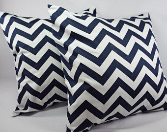 Two Navy Blue Chevron Decorative Pillow Covers Blue and White - Throw Pillow Cushion Cover Accent Pillow