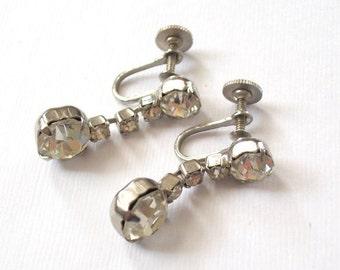 Vintage Glam Earrings Beautiful Vintage Rhinestone Dangle Sparkling Screwback Silver Tone Earrings Classic Beautiful Vintage Earrings Set
