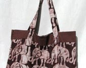 BOGO African Fabric Tote: Elephant with Brown Contrast