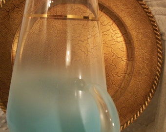 Vintage West Virginia - Blendo Frosted Glass Turquoise Pitcher