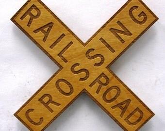 Railroad Crossing X Sign Wooden Fridge Magnet