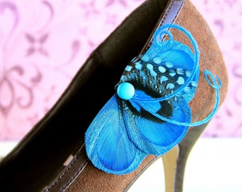 CINDY Turquoise Peacock Shoe Clips
