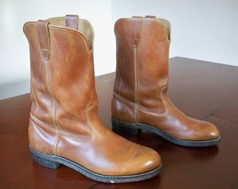 Vintage MADE IN USA Brown Leather Soft Toe Motorcycle / Cowboy Biker Men's Cork Sole Boots Size 9