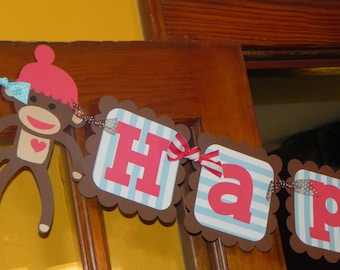Sock Monkey Birthday Banner - Sock Monkey Birthday Party