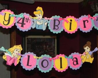 Princess Birthday Banner - Snow White, Cinderella, Ariel, Belle, Aurora
