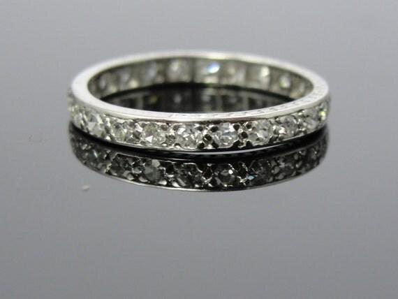Antique Art Deco Platinum Eternity Wedding Band Diamond