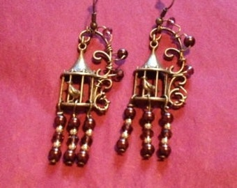 Antique Bird Cage and Red Beaded Drop Earrings