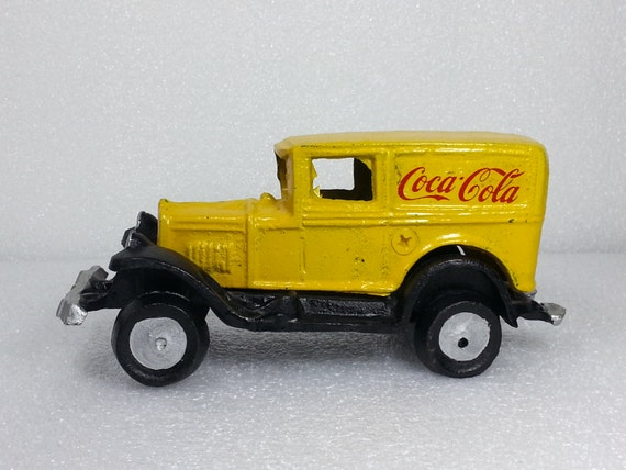Vintage Cast Iron Yellow Coca Cola Delivery Truck