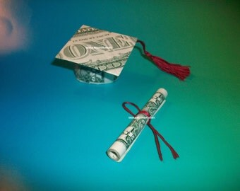 Money Origami GRADUATION CAP & DIPLOMA -Great Gift Idea-The Perfect Graduation Gift.