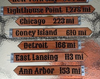 Custom carved wood direction / distance pole signs -  Carved on one side