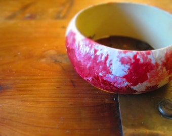 SALE *Handpainted Wooden Bangle in a Rose-inspired Design