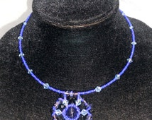 bead weaving jewelry beaded blue pendant necklace seed bead necklaces