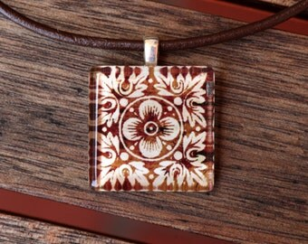 Antique Flower Glass Tile Pendant Necklace