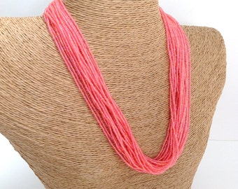 Coral necklace, seed bead necklace, pink necklace, rose necklace, statement necklace, boho, multistrand, beaded necklace, pink necklace