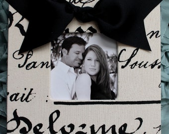 French Script Frame with a Black Bow