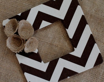 Brown Chevron Frame with Burlap Flowers