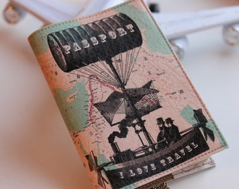 Graduation Gift - Passport Cover -  Birthday gift -  Passport holder -Passport Case - Passport wallet - Black Turquoise Emerald