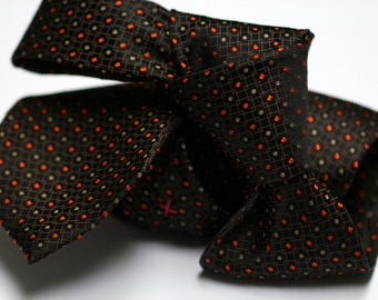 Silk Tie in Dots in Orange and Taupe on Black with Brown Squares