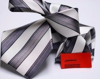 Silk Tie in Stripes with White, Charcoal grey, thin Black