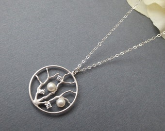 Silver Tree and Pearl Necklace in STERLING SILVER CHAIN--Swarovski Pearl--Tree Necklace-Perfect Gift, gift for mom, Birthday Present