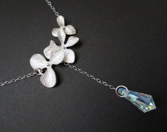 Triple Orchid and Crystal Lariat Necklace in STERLING SILVER CHAIN--flower necklace--Perfect gift for mom for friends Birthday Present