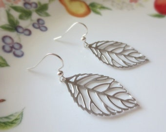 Silver Leaf .925 STERLING SILVER Earrings--Dainty Earrings-Perfect Gift for mom for friends Birthday Present for her