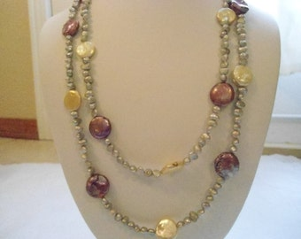 Extra long fall necklace:  Continuous strand fuchshia and beige dyed and cultured pearl necklace no clasp